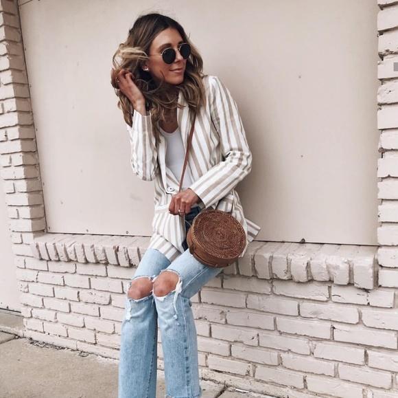 NWT Chriselle Lim x JOA Tan Striped Blazer XL